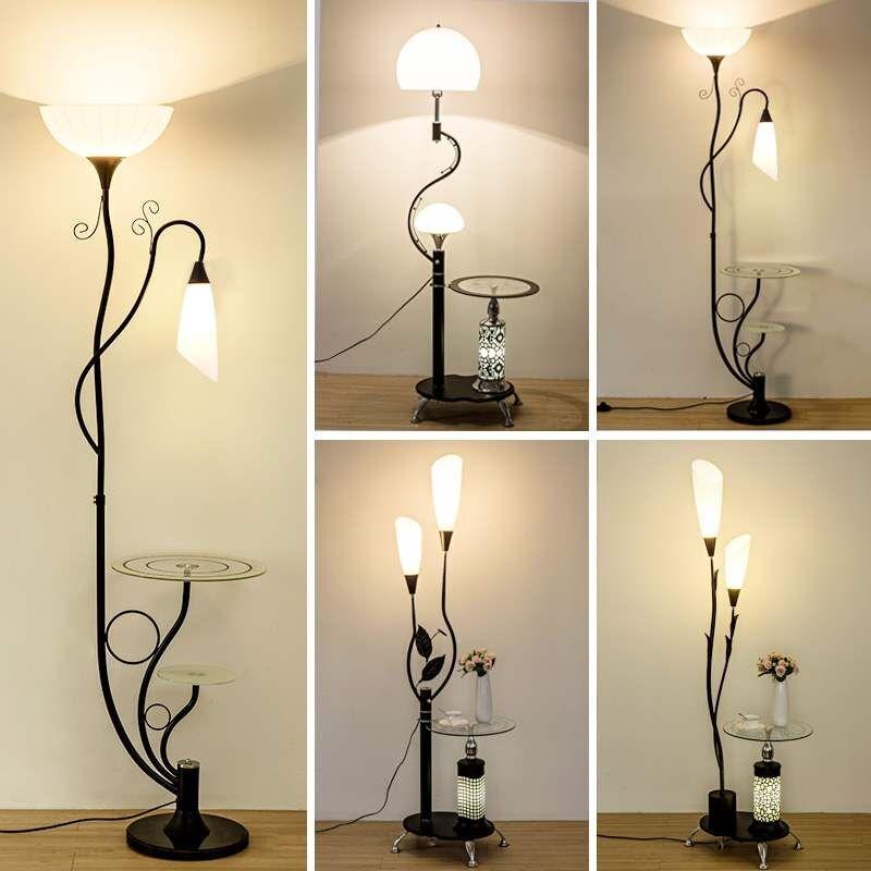 Kobuc مصابيح أرضية ضوء الدائمة مع طاولة من الخشب لغرفة المعيشة السرير زهرة زجاج عاكس الضوء ديكور فني مصباح الزاوية الدائمة