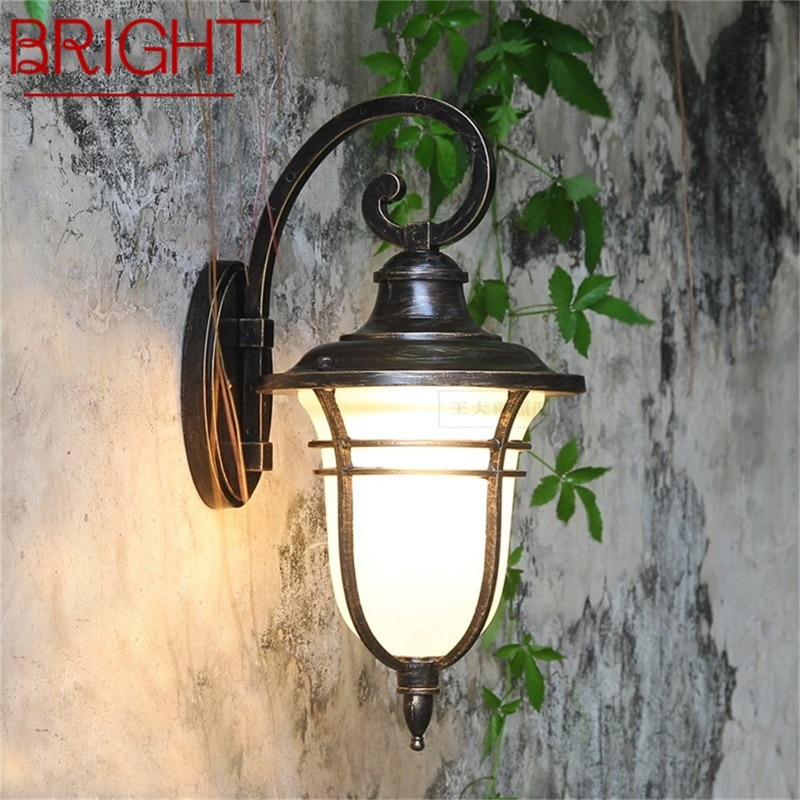 BRIGHT Retro Outdoor Wall Lights Classical LED Sconces Lamp Waterproof Decorative For Home Porch Villa