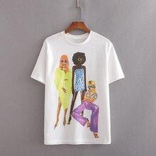 2020 été mode dessin animé impression blanc coton za t-shirt femme décontracté filles imprimer manches courtes t-shirt hauts ropa de mujer