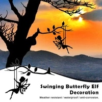 2d garden fairy decoration stake metal art elf silhouette inserting ornament for outdoor fairy swinging on the branch hk3