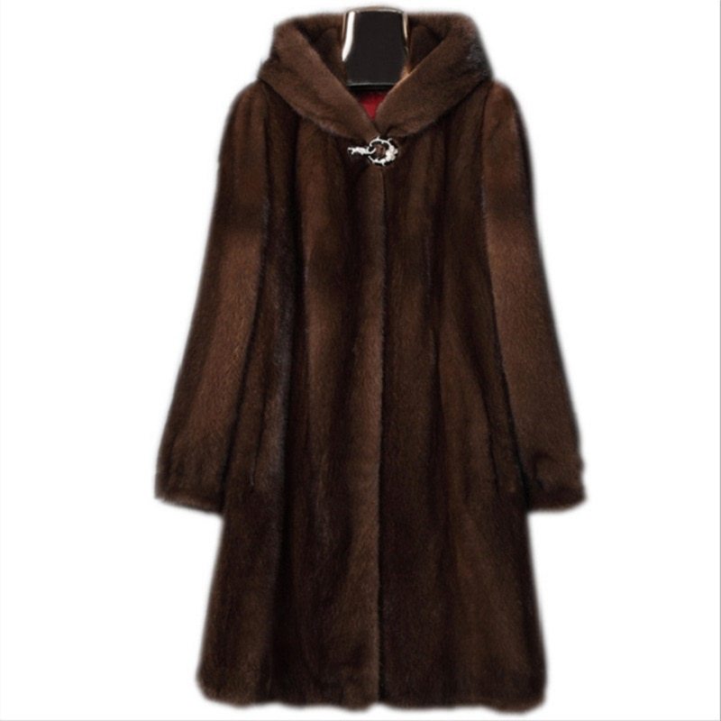 Fashion Thick And Warm Dark Brown Plus Size Winter Coats For Women 4XL 5XL 6XL Long Faux Leather Hooded Fur Outwear With Pockets