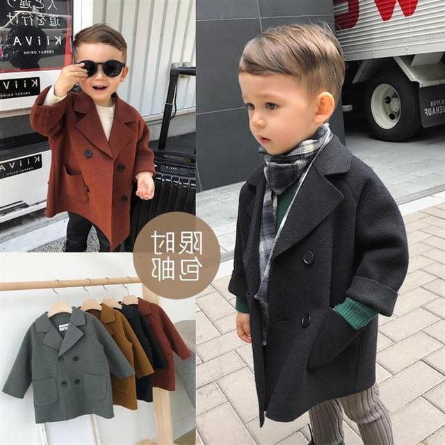 Повседневное шерстяное пальто в британском стиле для мальчиков осенне зимнее
