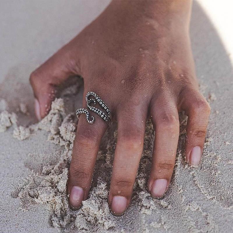 Criativo exagerada octopus estilo anéis abertura anel ajustável para mulheres meninas moda metal presentes de festa jóias