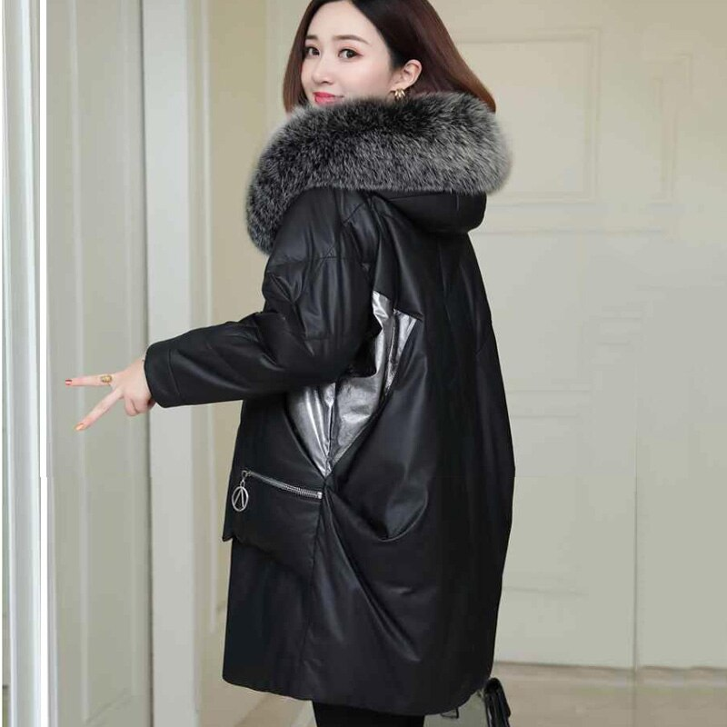 Parka Plus Size Down Women's Jackets 2021 Winter PU Leather Hooded Fur Collar Splicing Thickening Warm Long Parkas Coats Woman