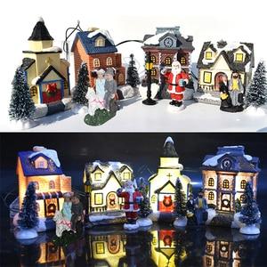 10pcs/set  Christmas Santa Claus Snow House Tiny Scene Sets Luminous LED Light Up Xmas Tree Shop Village Decorations Figurines
