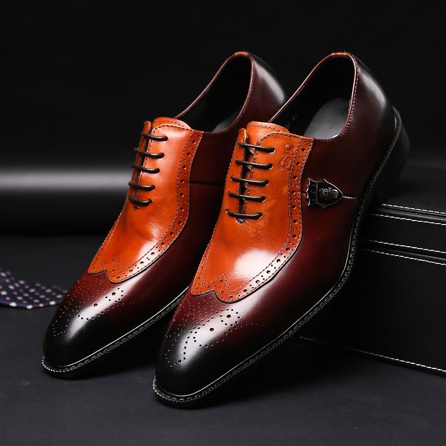 Роскошные классические мужские полуботинки с перфорацией типа «броги», платье, обувь из натуральной коровьей кожи коричневого цвета с острым носком на шнурках, Мужская официальная обувь для свадебной вечеринки