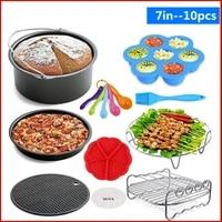 7inch 10pcsset air fryer accessories cake basket grill toast rack steam rack insulation pad kitchen supplies accessories
