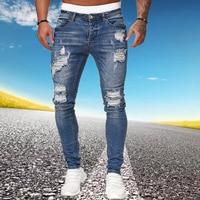 Мужские рваные узкие джинсы, синие облегающие брюки-карандаш с дырками, байкерские повседневные брюки, уличная одежда 2020, джинсовая мужская...