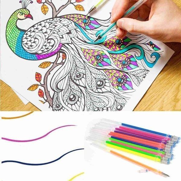 Conjunto de recargas de caneta gel, kit de recargas de caneta gel com 12/24/36/48 cores, recarga multicolor em flash para desenho e escrita, para ferramenta de papelaria na escola