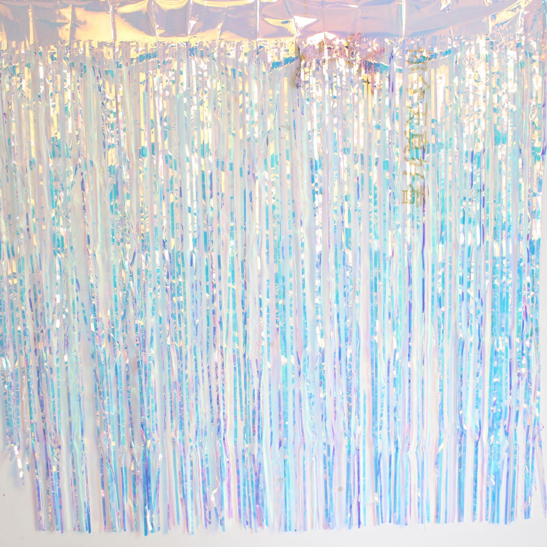 Película de boda transparente de colores decorativos tirar flores habitación de seda de lluvia transparente colorido cortina fiesta suministros