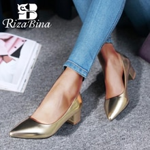RizaBina Size 31-47 Offfice Lady High Heels Shoes Women pumps Fashion Square Heels Pointed Toe Classics Dress Shoes Footwear