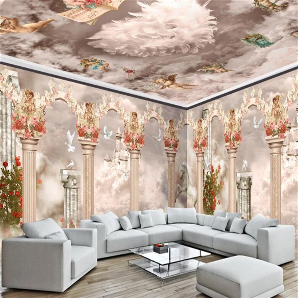 Milofi custom photo wallpaper 3D dream roman column cloud castle unicorn custom background wall mural