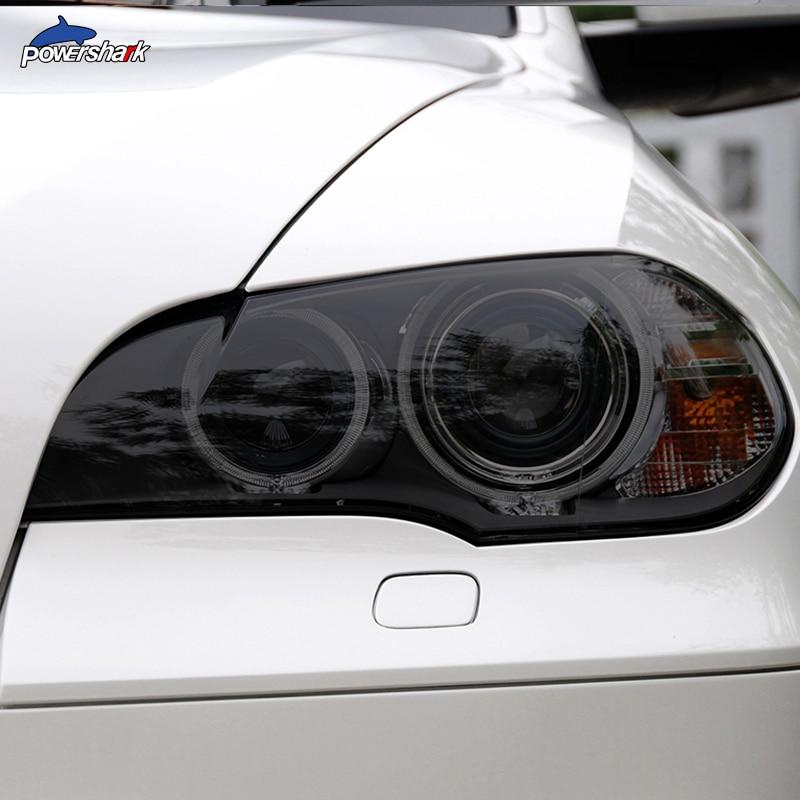 2 قطعة سيارة مصباح أمامي ملون المدخن الأسود طبقة رقيقة واقية الجبهة ضوء شفاف بولي TPU ملصق لسيارات BMW X5 E70 M 2007-2013 اكسسوارات