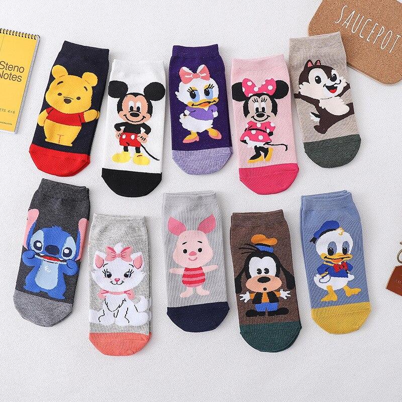 Casual feminino meias coréia dos desenhos animados animal mouse pato urso meias de algodão menina engraçado tornozelo meias tamanho 35-41 dropshipping