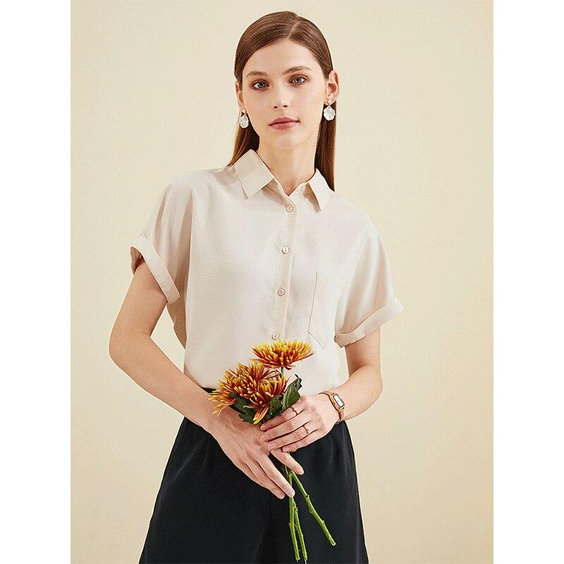 White Shirt Women's Loose Chiffon Short Sleeve Square Collar Top Fashion Temperament Business Shirt