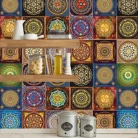 Autocollants de carreaux de mosaique de Style Mandala  adhesif retro 3D etanche pour salon  cuisine  decalcomanie murale  decor de salle de bains  DIY bricolage