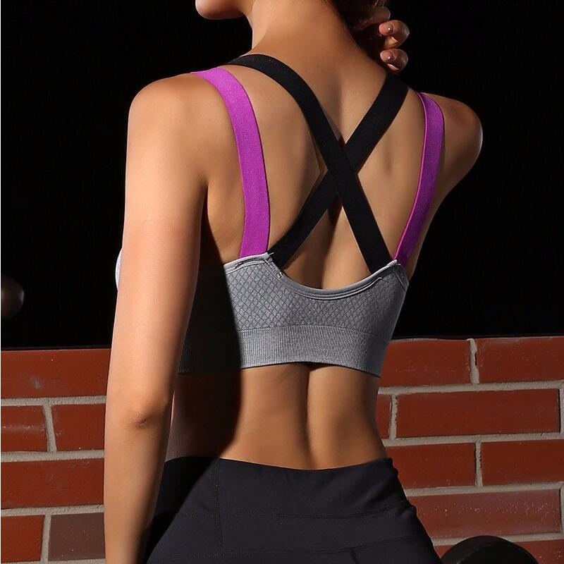 Yoga Sports Bra Full Cup quick dry Top Shockproof Cross Back Push Up Workout Bra For women Gym Running Jogging Fitness Bra new style yoga bra women cross strap back sports vest running fitness quick dry gathering bra
