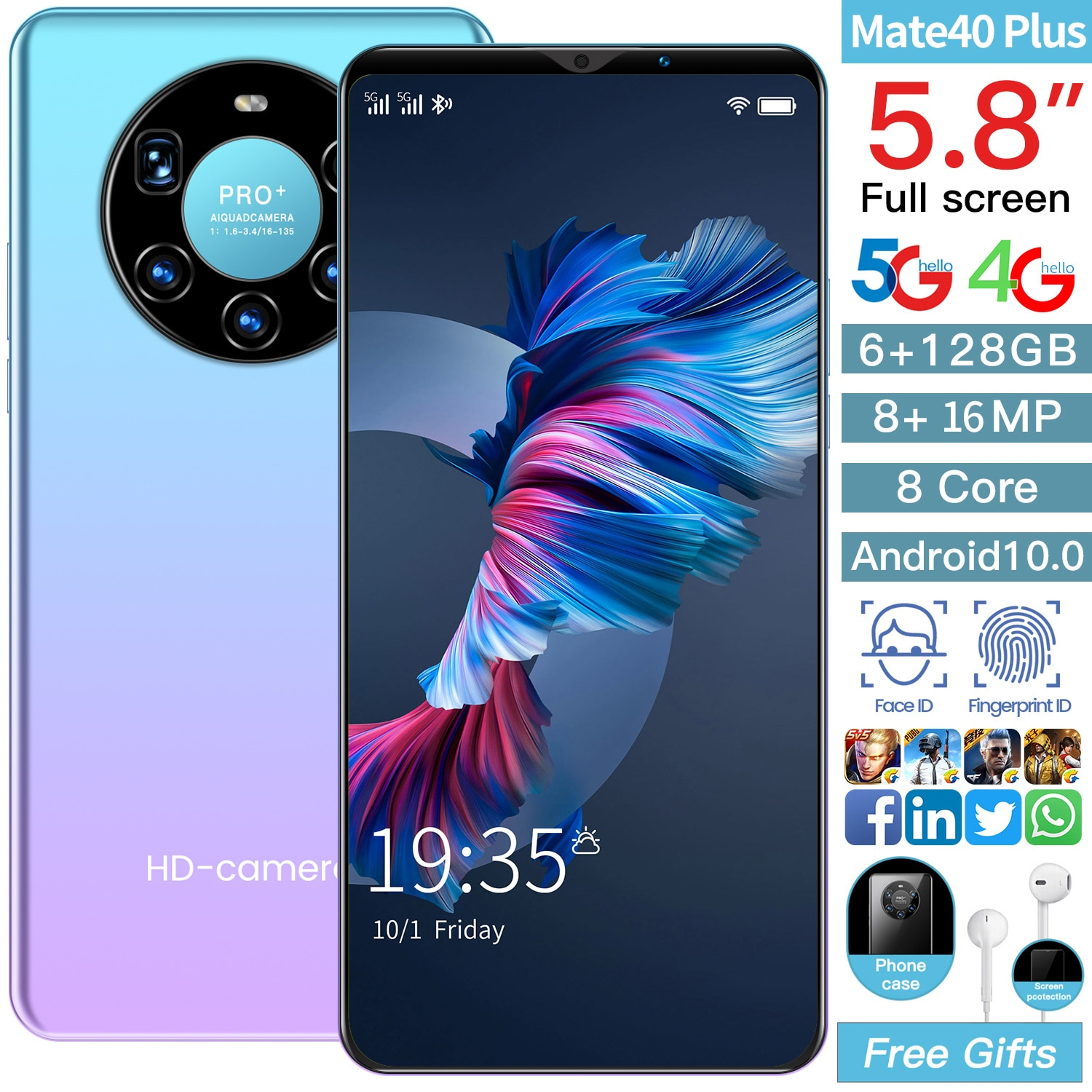 Global Version Mate 40 Plus 4G Smartphone 6.1 inch 8+16MP Mobile Phone Dual Sim Card 6GB RAM + 128GB