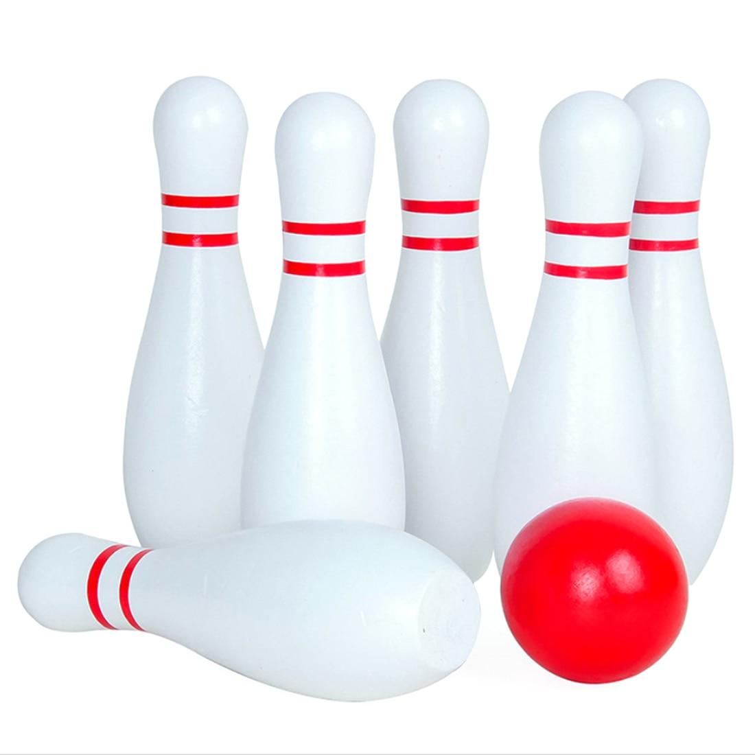 كبيرة الحجم خشبية التزلج الكرة داخلي لعبة البولينج مع 6 قوارير البولينغ ألعاب رياضية للأطفال الكبار انخفاض الشحن
