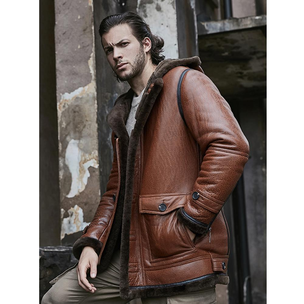 2019 New Mens Shearling Jacket Sheepskin Coat Hooded Mens Leather Jacket Fur Coat Long Mens Winter Coat