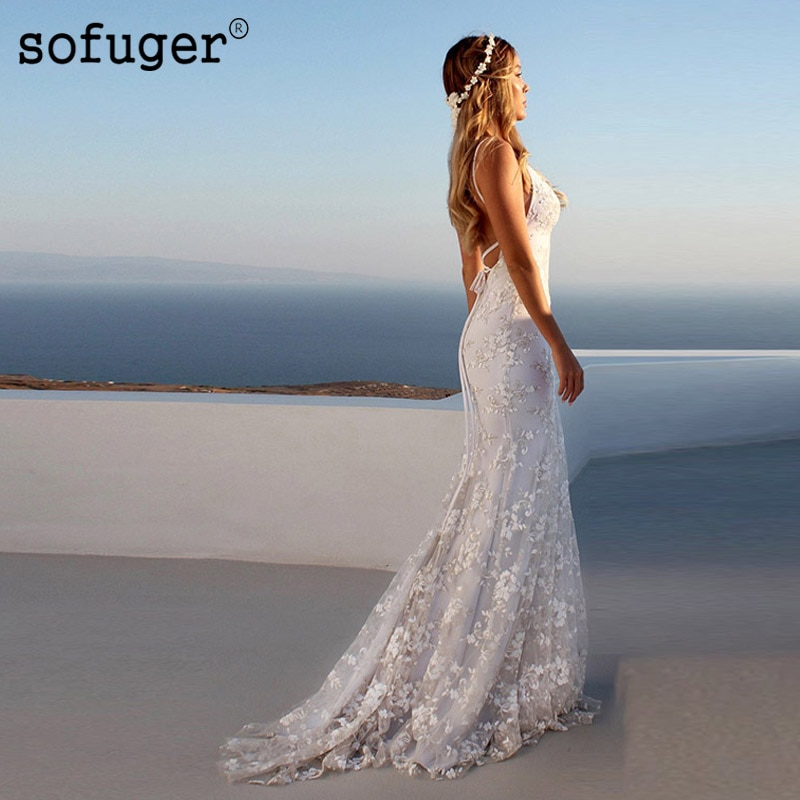 Sexy encaje sirena marfil blanco vestido De novia cuello en V Boho bata De Mariee Sofuge Dubai árabe Abiti Da Sposa