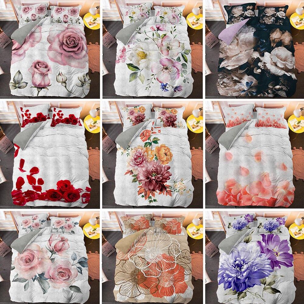 Juego de ropa de cama de lujo con diseño Floral, juego de fundas colcha confortable, ropa de cama individual tamaño King Size personalizada