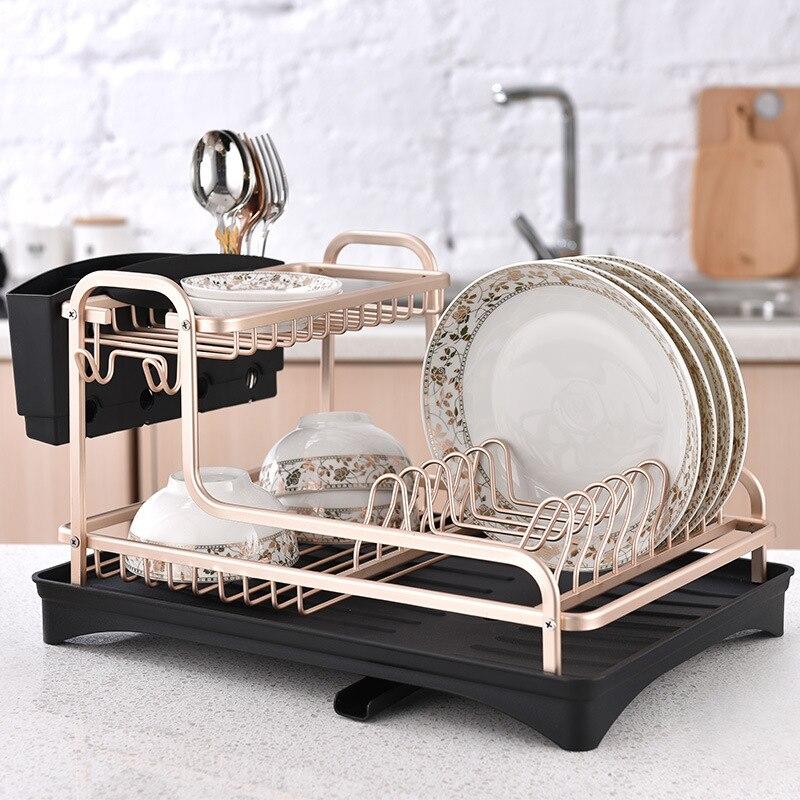 Champagne de oro doble plato rack de drenaje de espacio de aluminio poner platos palillos plato de vajilla de cocina de almacenamiento rack