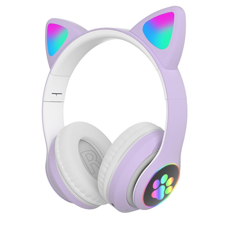 Auriculares Oreja de Gato para niños y adultos, cascos con luz LED,...