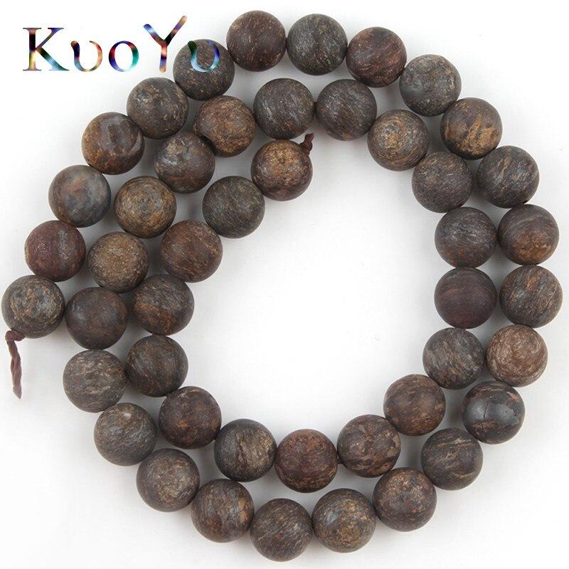 """Natural pedra forsted brown bronzite grânulos maçante polonês solto espaçador grânulos para fazer jóias diy perles pulseiras 4/6/8/10mm 15"""""""