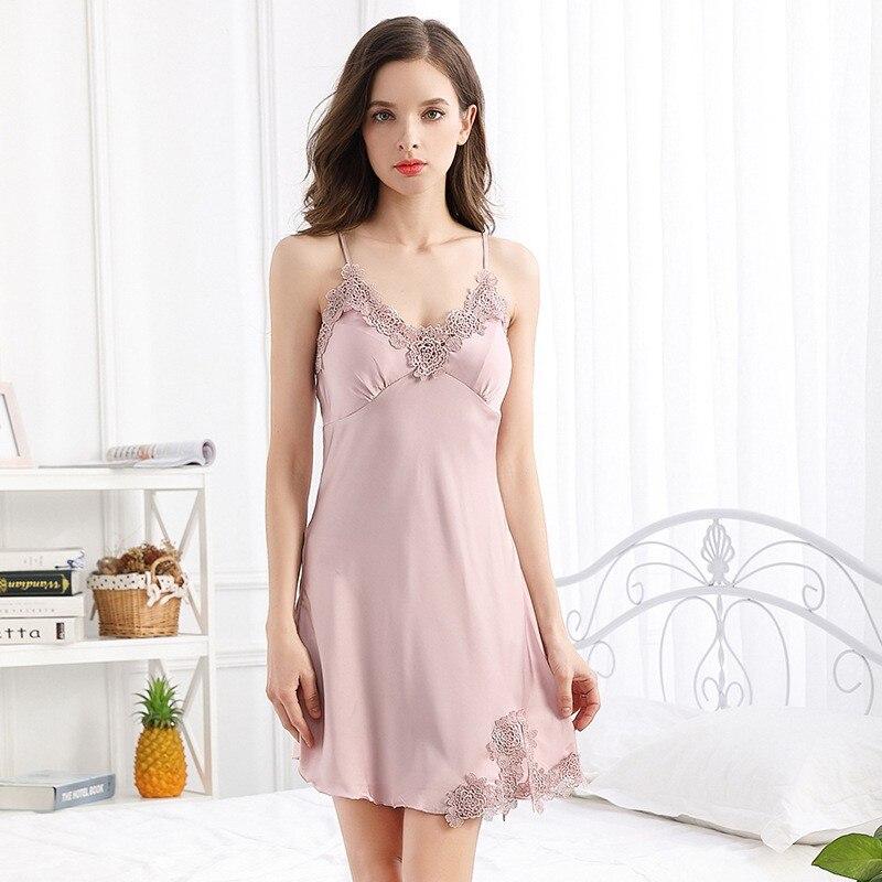 Sexy rosa camisola feminina cetim cinta de espaguete lingerie dama de honra vestido de noiva noite de casamento sleepwear sleepwear