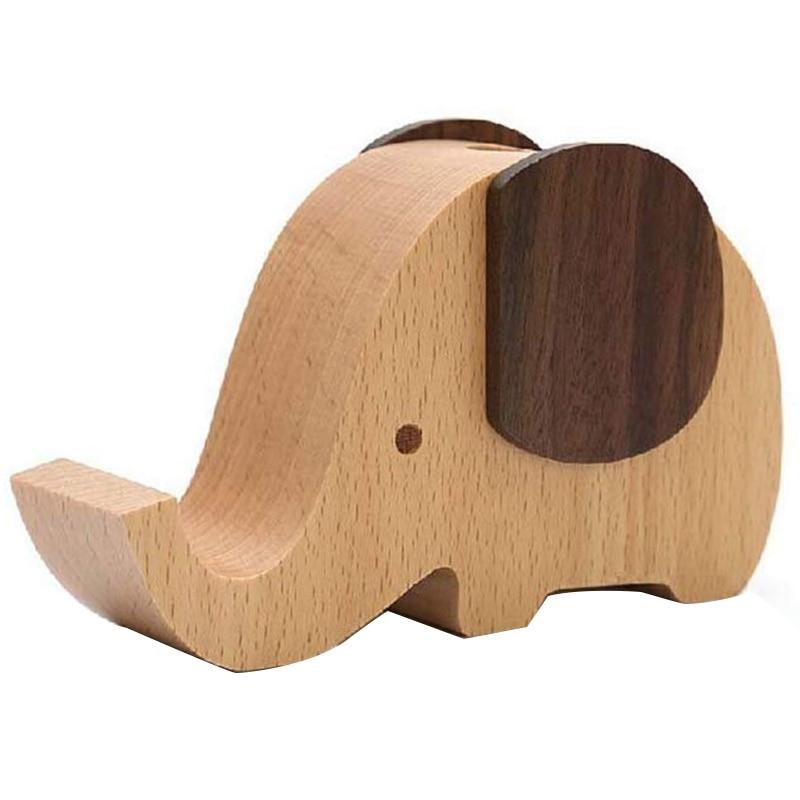 Soporte de teléfono móvil de elefante de madera/soporte con lapicero decoración de escritorio suministros multifuncionales organizador de papelería