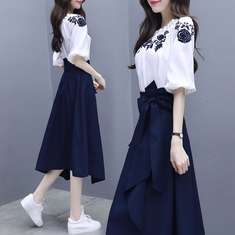 Goddess Two-Piece Womens Spring Summer New Floral Embroidery White Blouse Bow Sashes Navy Blue A-Line Midi Skirts Elegant Suits