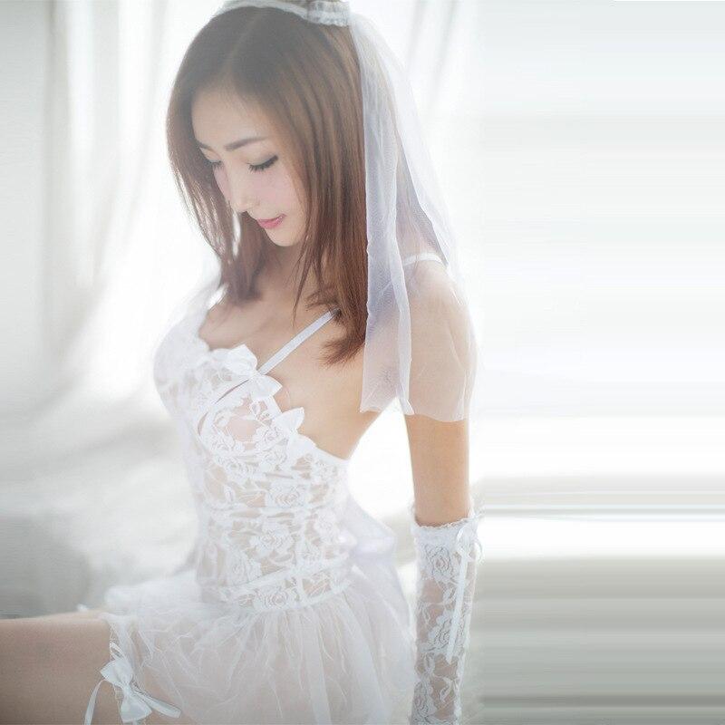 New Sexy Bridal Underwear Set Perspective Lace Mesh Suit Female White Lingerie Bodysuit For Ladies Womens Sex Wear Clothes