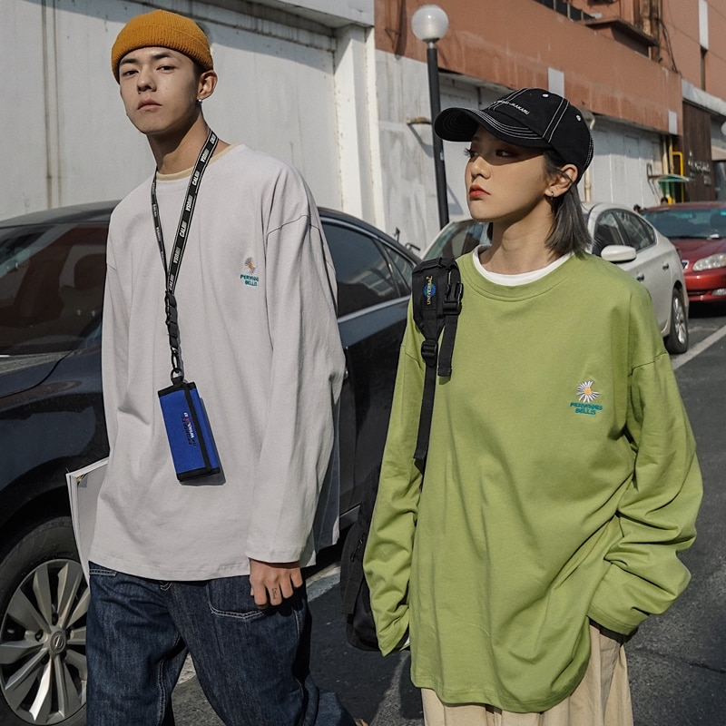 New 2020 Couples Wear Spring Long-sleeved Hoodies Korean Trend Male Fake Two-piece Wild Loose Full O-Neck