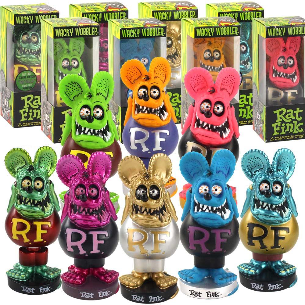 8 estilo RAT FINK Bobblehead muñeca Crazy Mouse acción figura Ratfink modelo juguetes para la decoración del coche