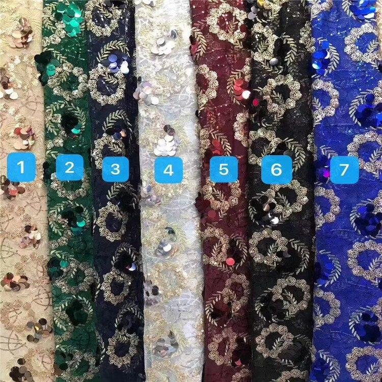 Fundo de malha multicolorido zhu pian xiu hua mian liao roupas femininas vestido de casamento vestido bordado tecido