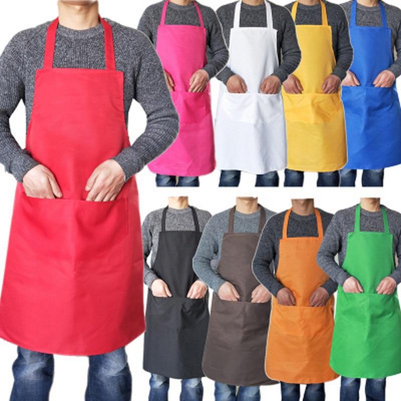 Delantal de cocina de 10 Uds para hombres y mujeres, delantal negro sin mangas de algodón de Color puro con dos bolsillos, delantal de cocina para mamá y papá