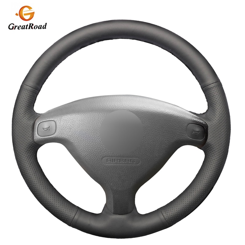 Funda de volante de coche de cuero genuino negro para Opel Zafira A 1999-2005 Buick Sail Opel Astra G H 1998-2007