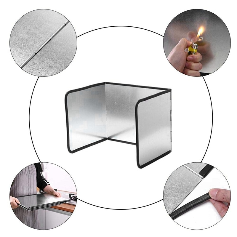 Cooking Oil Splash Foldable Kitchen Oil Splash Guard for Wall Block Cover Galvanized Board Plate Prevent Hot Oil Baffle Paper