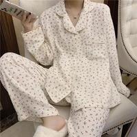 summer women pajamas set sleepwear pijama turn down femme satin cotton comfort loose homewear womens pyjama set