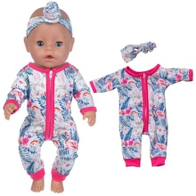 2021 New Flamingo Jumpsuits Hairband Suits Wear For 43cm Baby Doll Clothes Accessories,Children Best