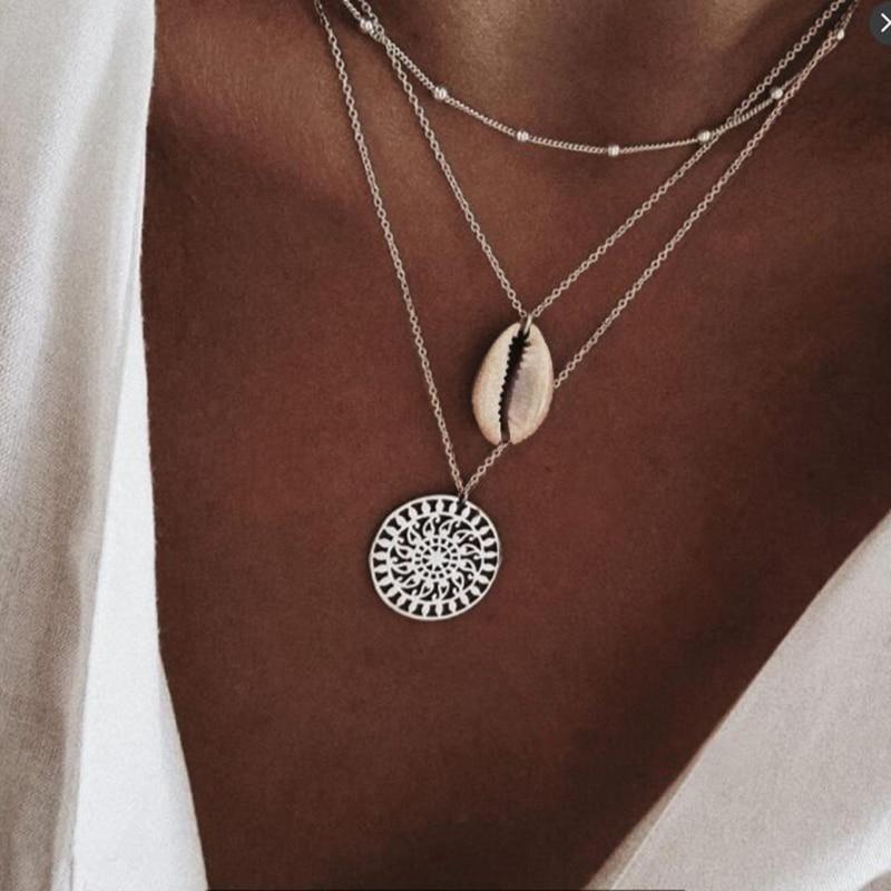 COLLAR COLGANTE estampado Natural con tres capas de concha, collar gargantilla multicapa dorado para mujer, joyería Bohemia
