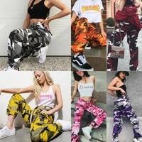 women fashion 4 color camo cargo pants high waist hip hop trousers military army combat camouflage long pants ladies hot