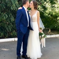 romantic bohemian a line wedding dress v neck appliques beading summer tulle wedding dresses sexy backless bridal gowns