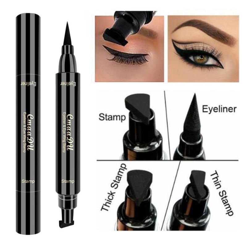 Eyeliner Double head Black Long Lasting Eye Liner Pencil Eyeliner tail seal Waterproof Smudge-Proof Cosmetic Beauty Makeup 1 pcs недорого