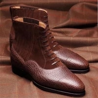 2021 new men shoes fashion casual personality trend classic lychee pattern pu stitching faux suede lace up ankle boots 6kf409