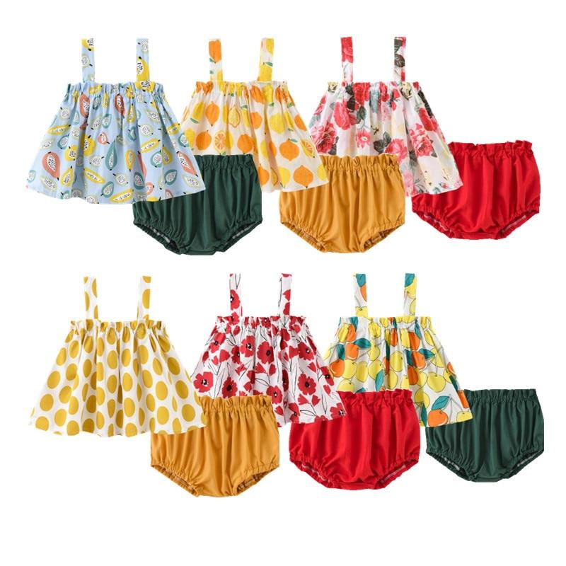 Ropa para bebés recién nacidos, conjunto de verano para niñas (chaleco + Pantalones cortos), ropa para el hogar con estampado de flores, ropa de algodón sin mangas para bebés, 2 unidades