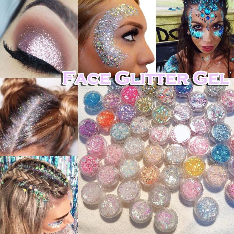 Glitter Glam Liquid Skin Sparkle Eye Glitter Hair Body Face Glitter Gel  Flash Heart Loose Sequins Glitter Eyeshadow Cream недорого