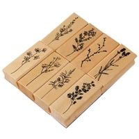 stamp plant pattern sturdy wood diy scrapbooking decorative seal for craft