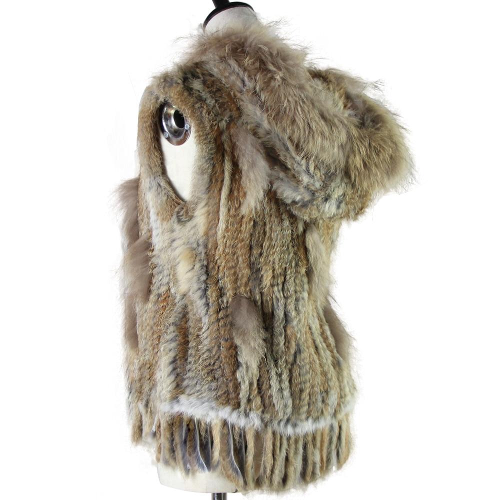 Harppihop fashion rabbit fur vest raccoon fur trimming knitted rabbit fur vest with hood fur waistcoat gilet фото